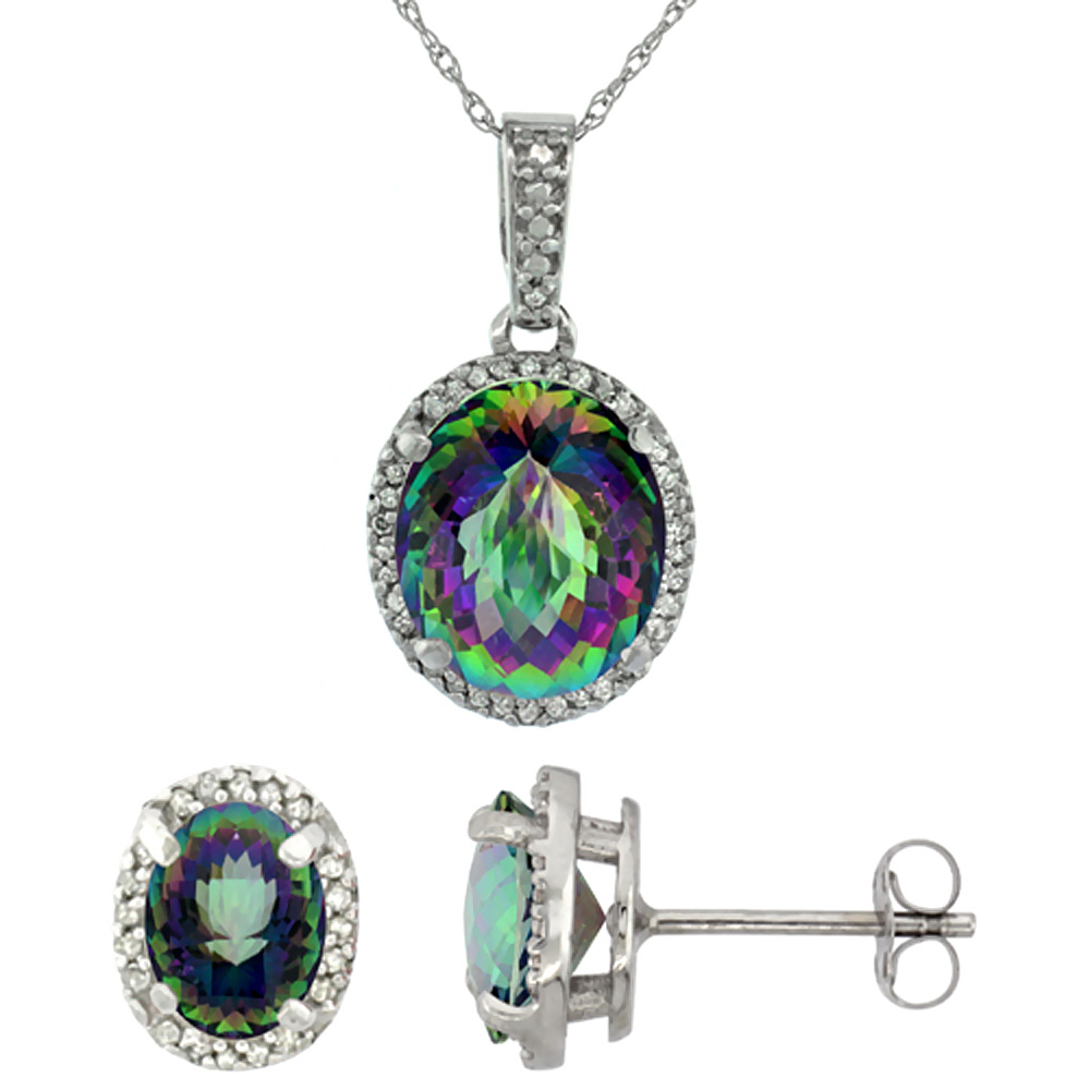 10K White Gold Diamond Natural Mystic Topaz Oval Earrings & Pendant Set