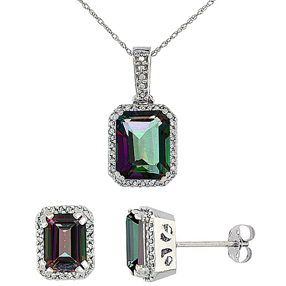 10K White Gold Diamond Natural Octagon Mystic Topaz Earrings & Pendant Set