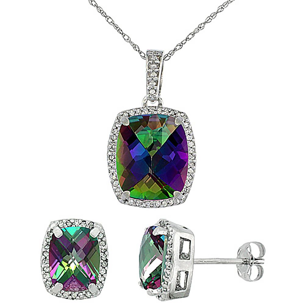10K White Gold Natural Mystic Topaz Octagon Cushion Earrings & Pendant Set