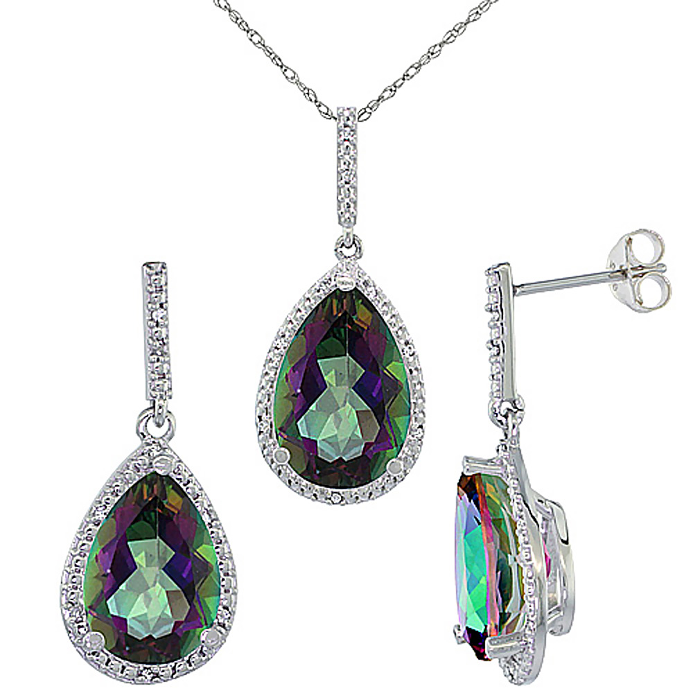 10K White Gold Diamond Natural Mystic Topaz Earrings Necklace Set Pear Shaped 12x8mm & 15x10mm, 18 inch