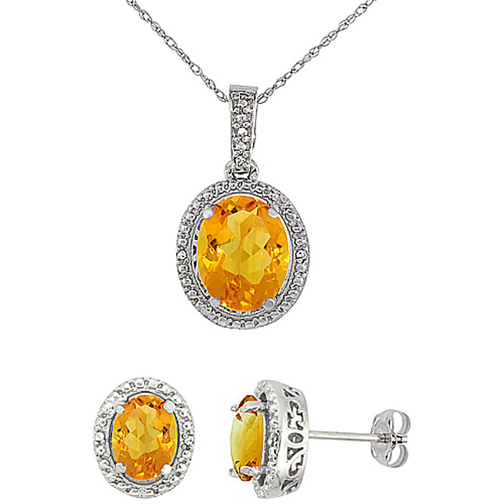 10K White Gold Diamond Natural Citrine Oval Earrings & Pendant Set