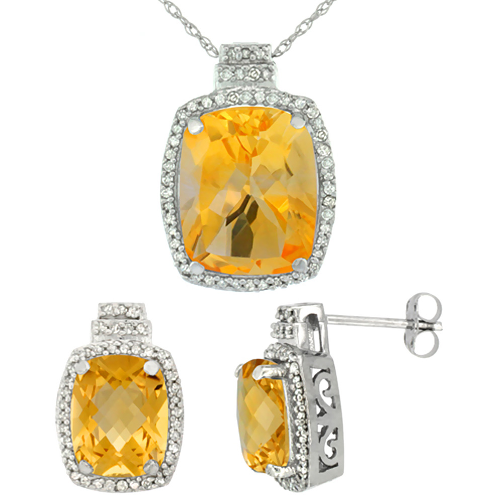 10K White Gold Diamond Natural Citrine 8x6mm Earrings & 11x9mm Pendant Set Octagon Cushion