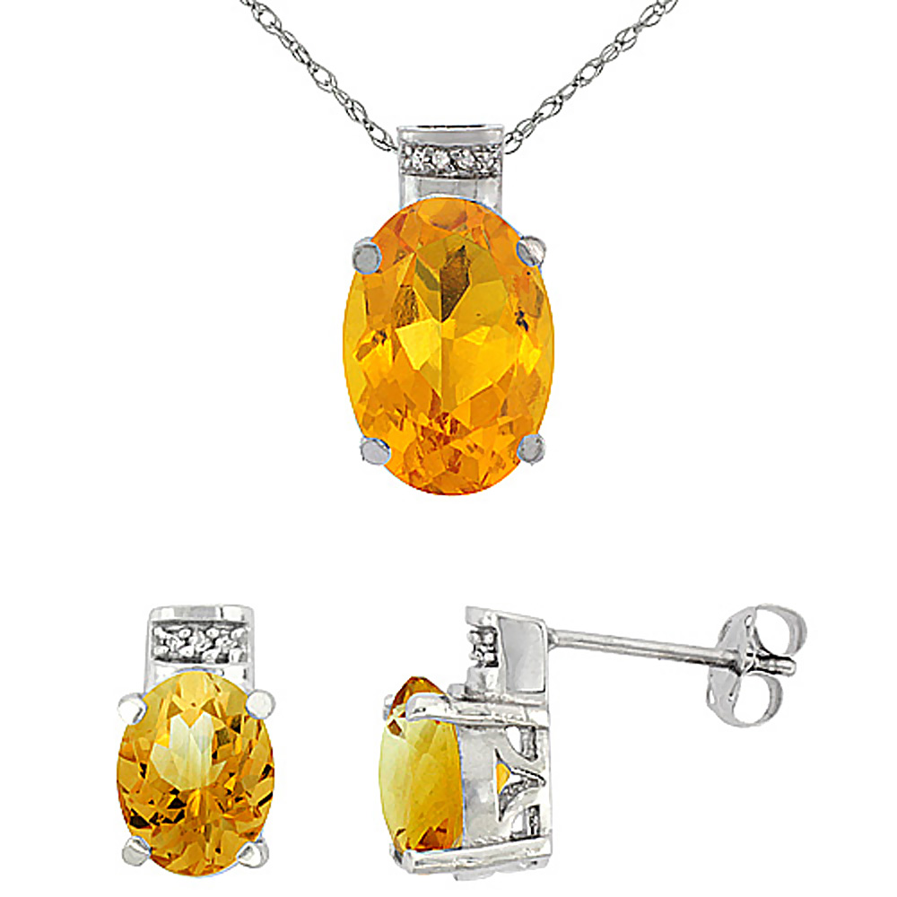 10K White Gold Diamond Natural Oval Citrine Earrings & Pendant Set