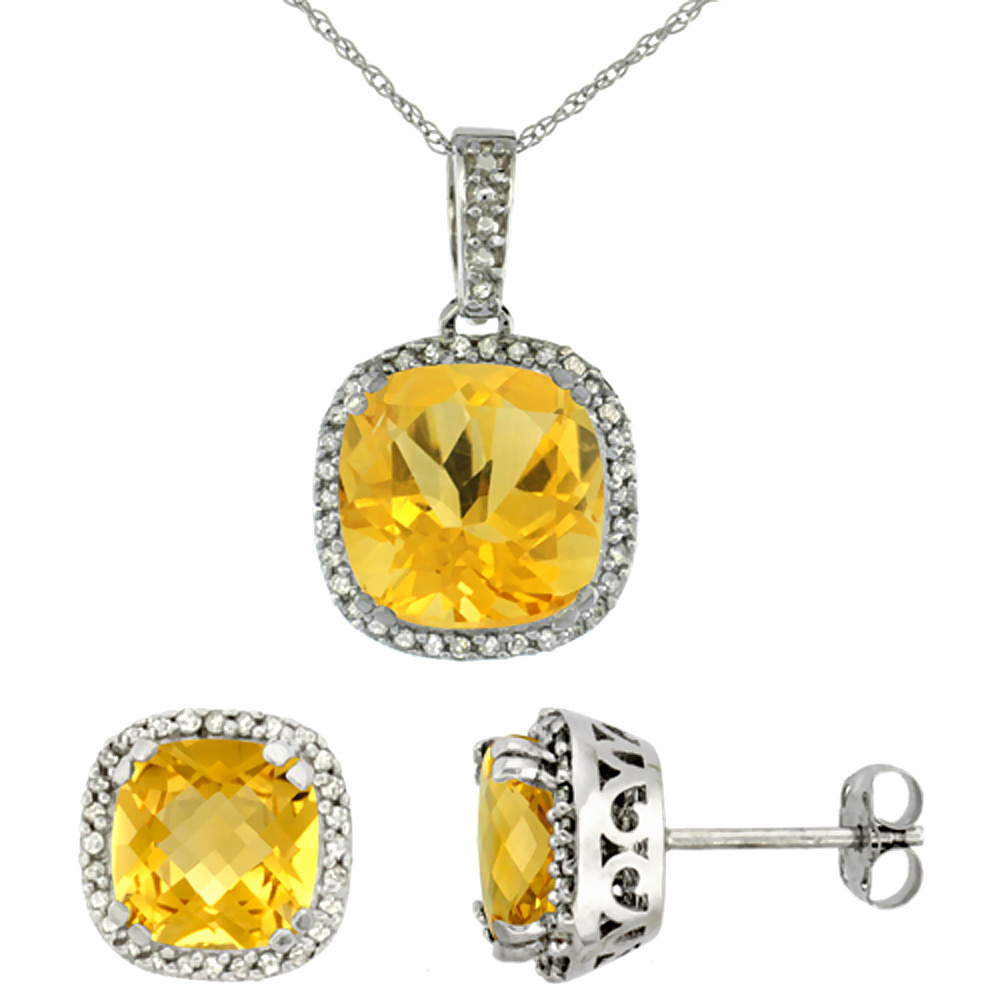 10k White Gold Diamond Halo Natural Citrine Earring Necklace Set 7x7mm & 10x10mm Cushion Shaped, 18 inch