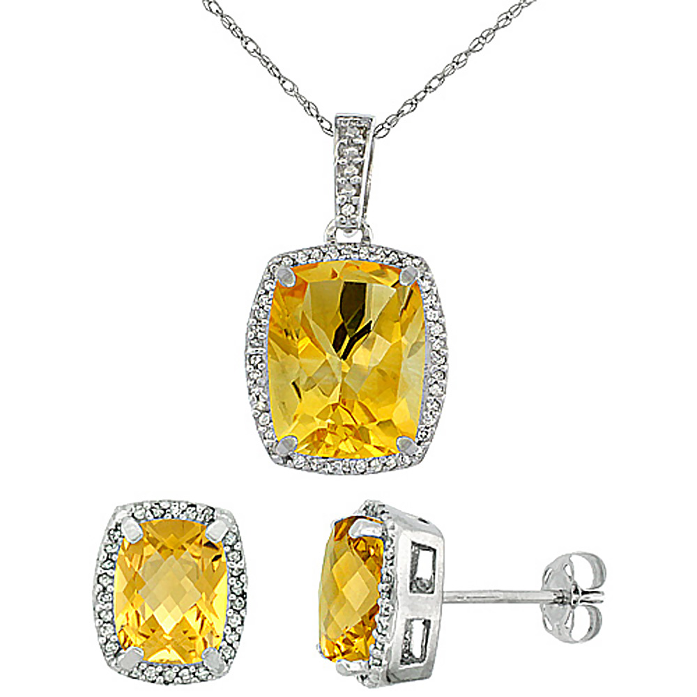 10K White Gold Natural Citrine Octagon Cushion Earrings & Pendant Set