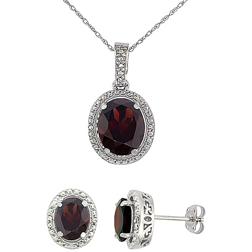 10K White Gold Diamond Natural Garnet Oval Earrings & Pendant Set