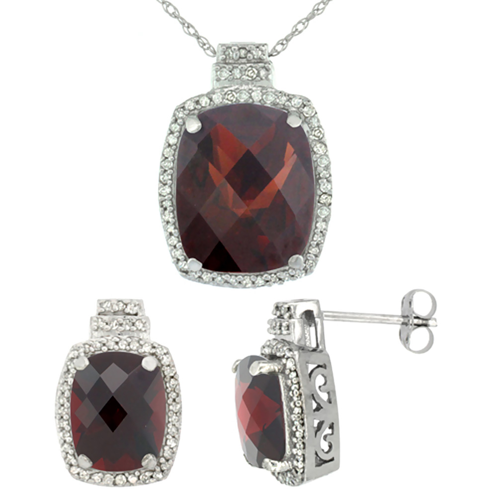 10K White Gold Diamond Natural Garnet 8x6mm Earrings & 11x9mm Pendant Set Octagon Cushion