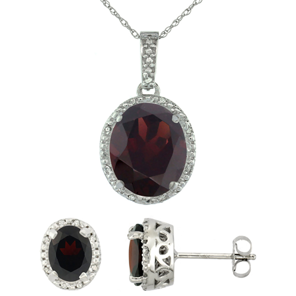 10K White Gold Diamond Halo Natural Garnet Earrings Necklace Set Oval 7x5mm & 12x10mm, 18 inch