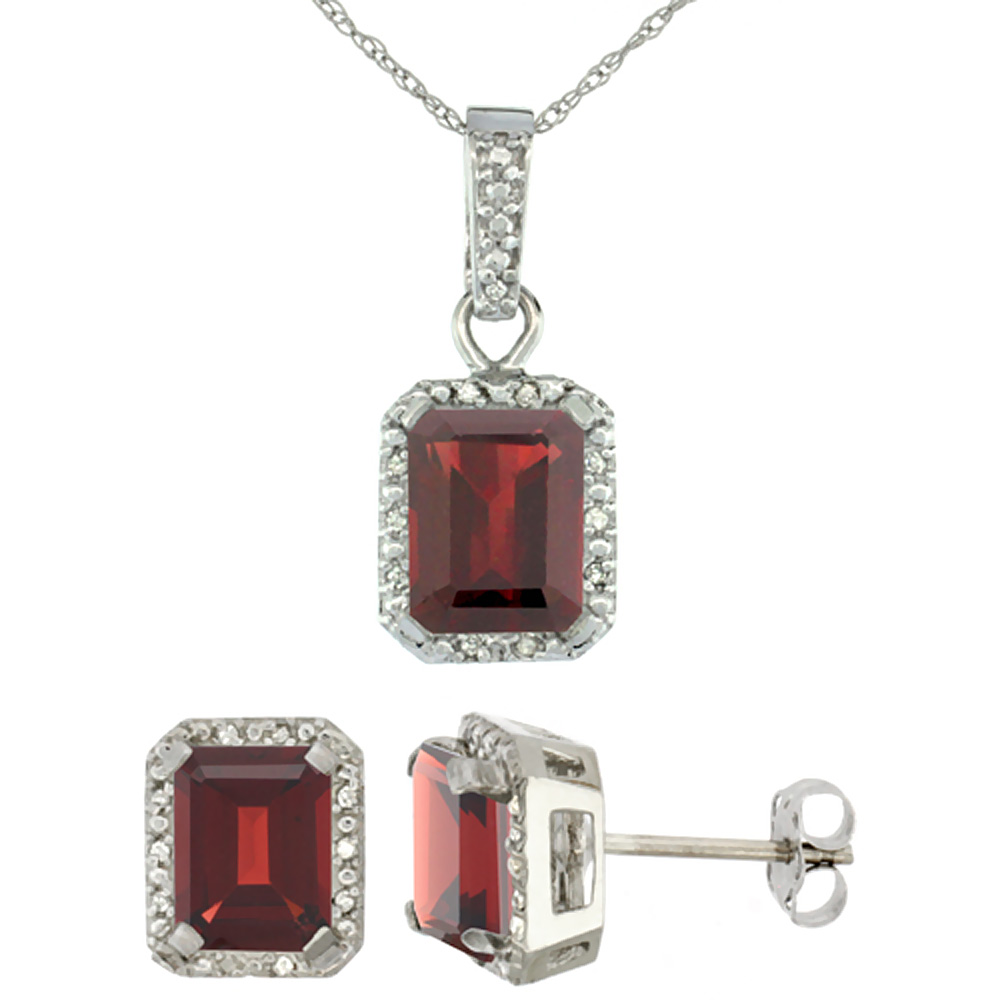 10K White Gold Natural Octagon 8x6 mm Garnet Earrings & Pendant Set Diamond Accents