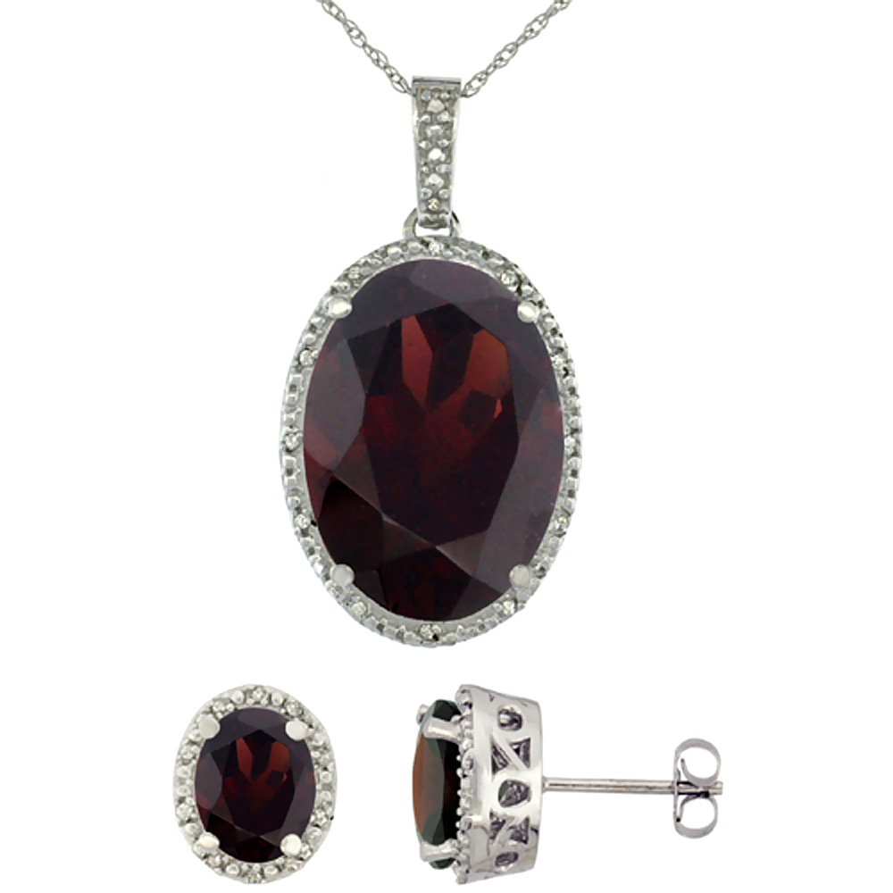 10K White Gold Diamond Natural Oval Garnet Earrings & Pendant Set