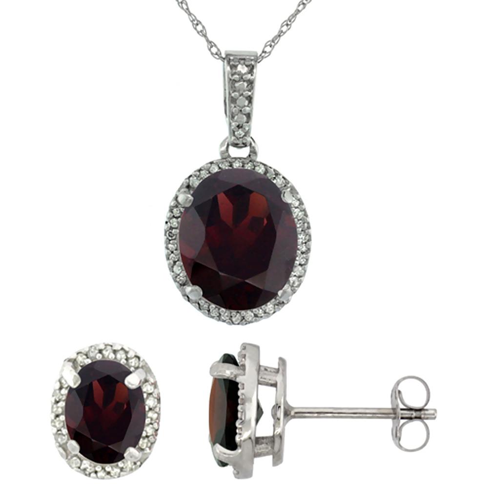 10K White Gold Diamond Natural Garnet Oval Earrings & Pendant Set