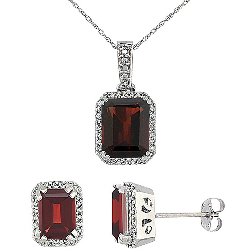 10K White Gold Diamond Natural Octagon Garnet Earrings & Pendant Set