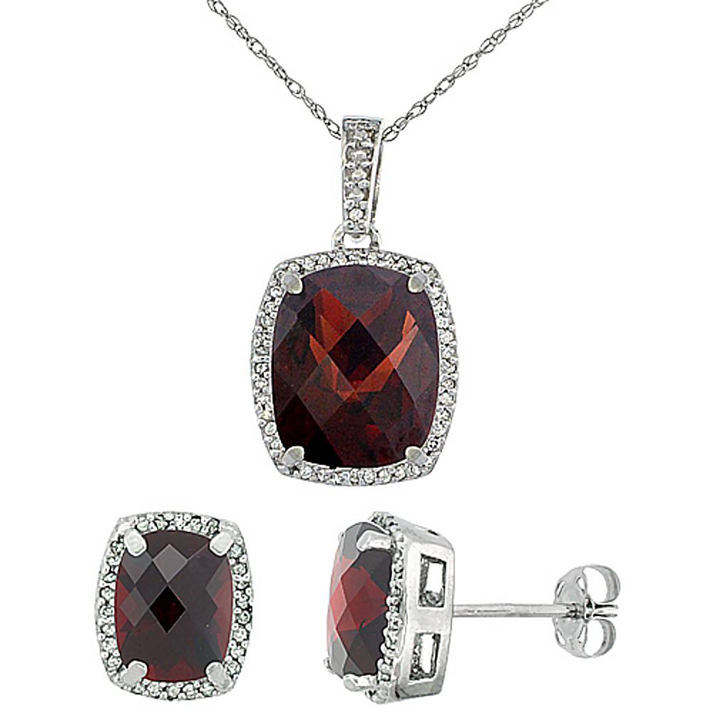 10K White Gold Natural Garnet Octagon Cushion Earrings & Pendant Set