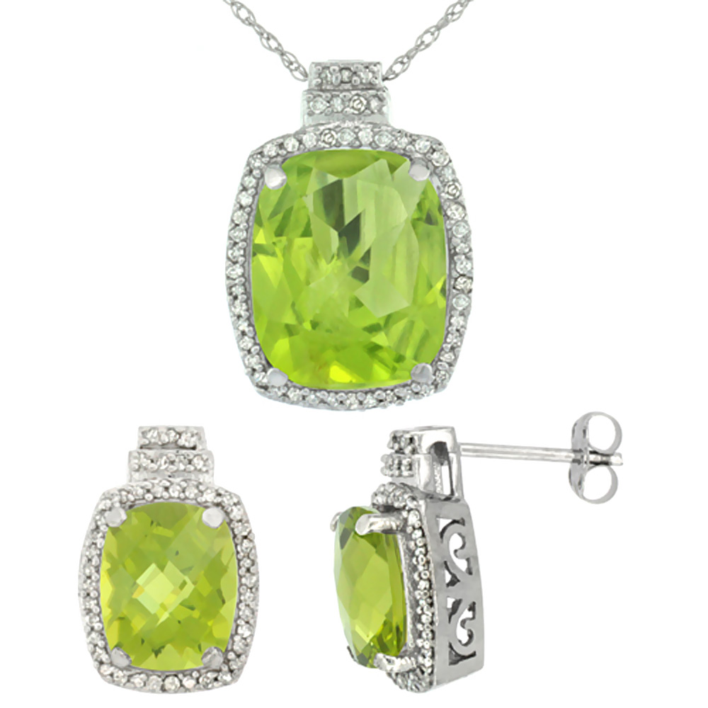 10K White Gold Diamond Natural Peridot 8x6mm Earrings & 11x9mm Pendant Set Octagon Cushion
