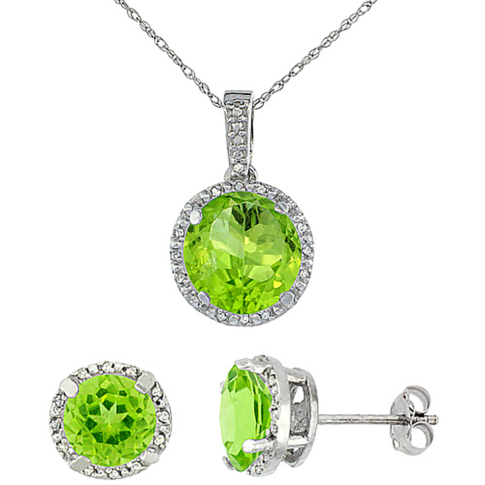 10K White Gold Natural Round Peridot Earrings & Pendant Set Diamond Accents