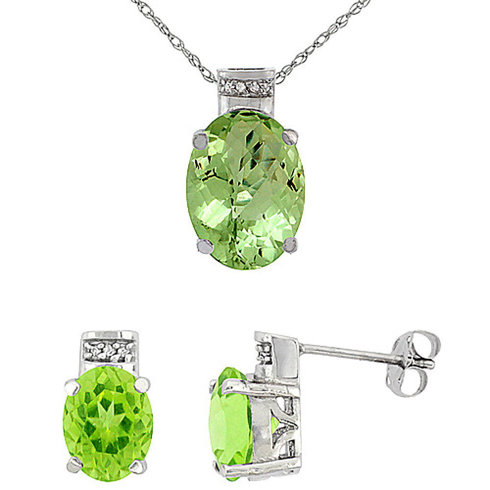 10K White Gold Diamond Natural Oval Peridot Earrings & Pendant Set