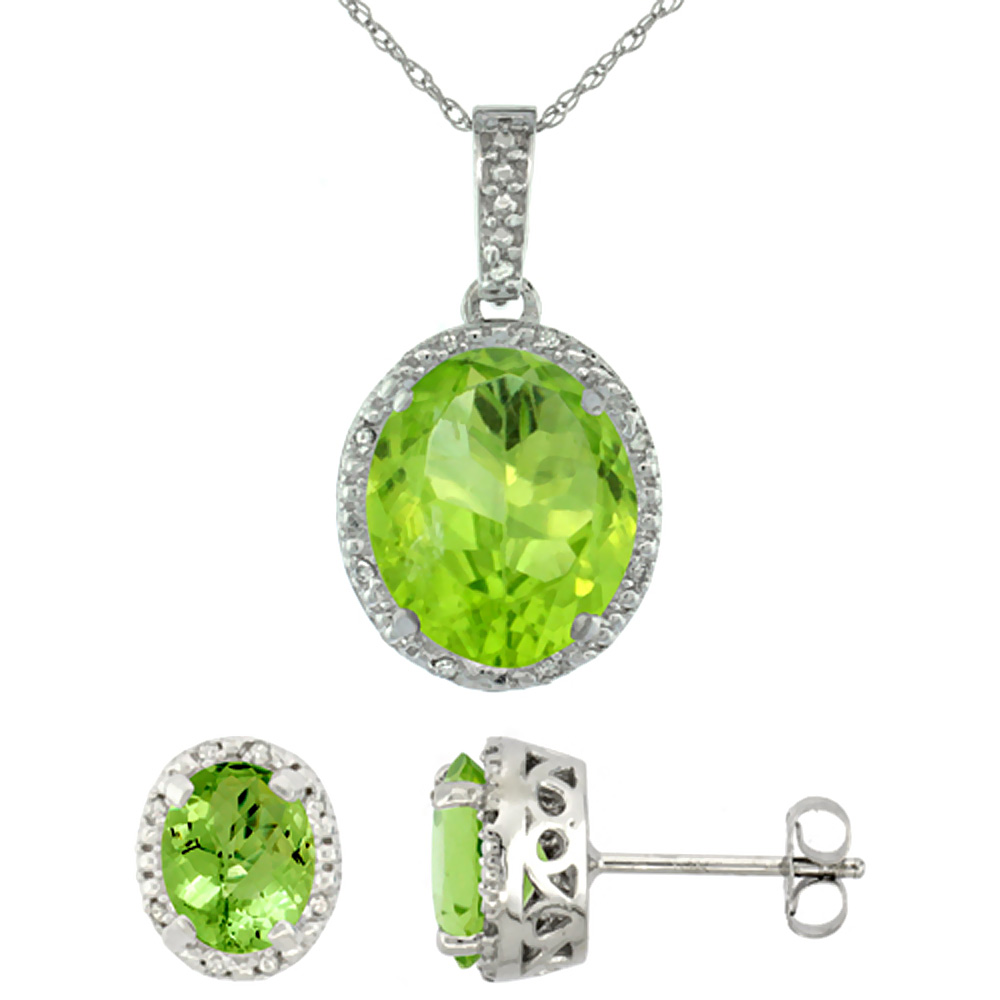10K White Gold Diamond Halo Natural Peridot Earrings Necklace Set Oval 7x5mm & 12x10mm, 18 inch