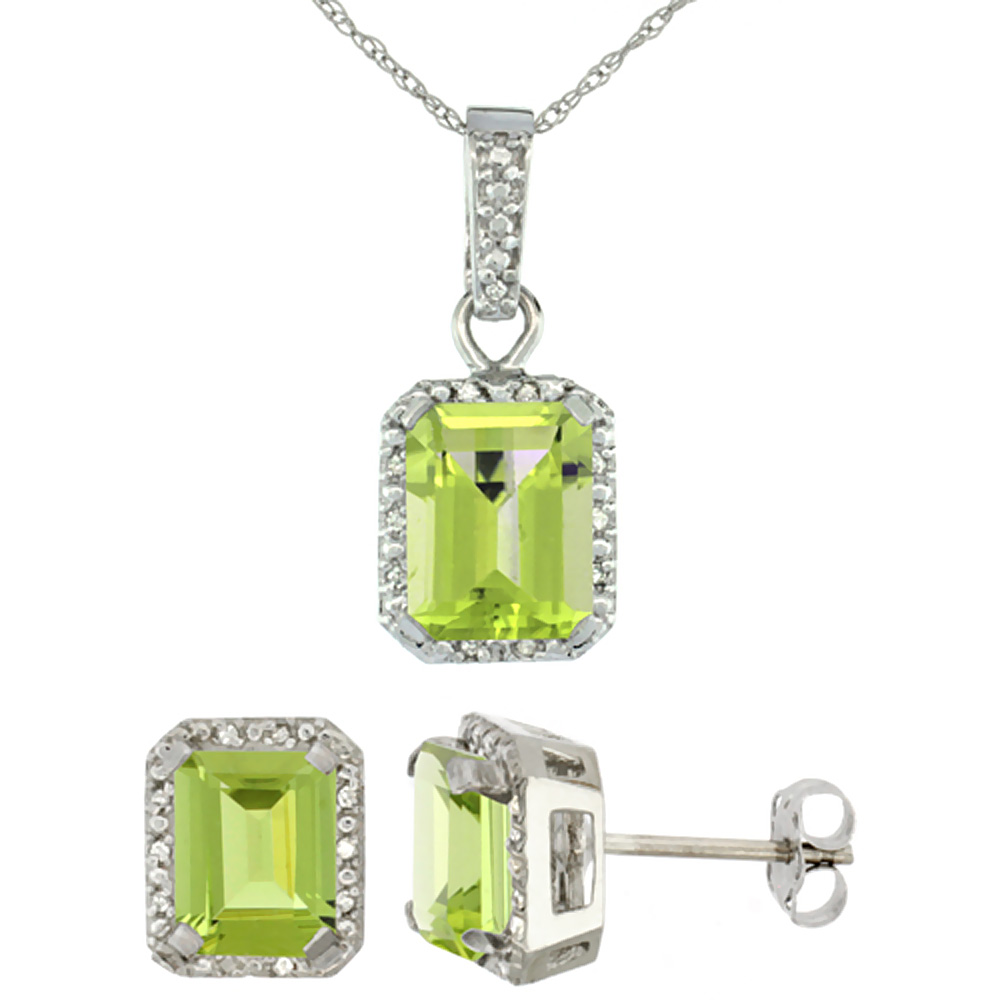10K White Gold Natural Octagon 8x6 mm Peridot Earrings & Pendant Set Diamond Accents
