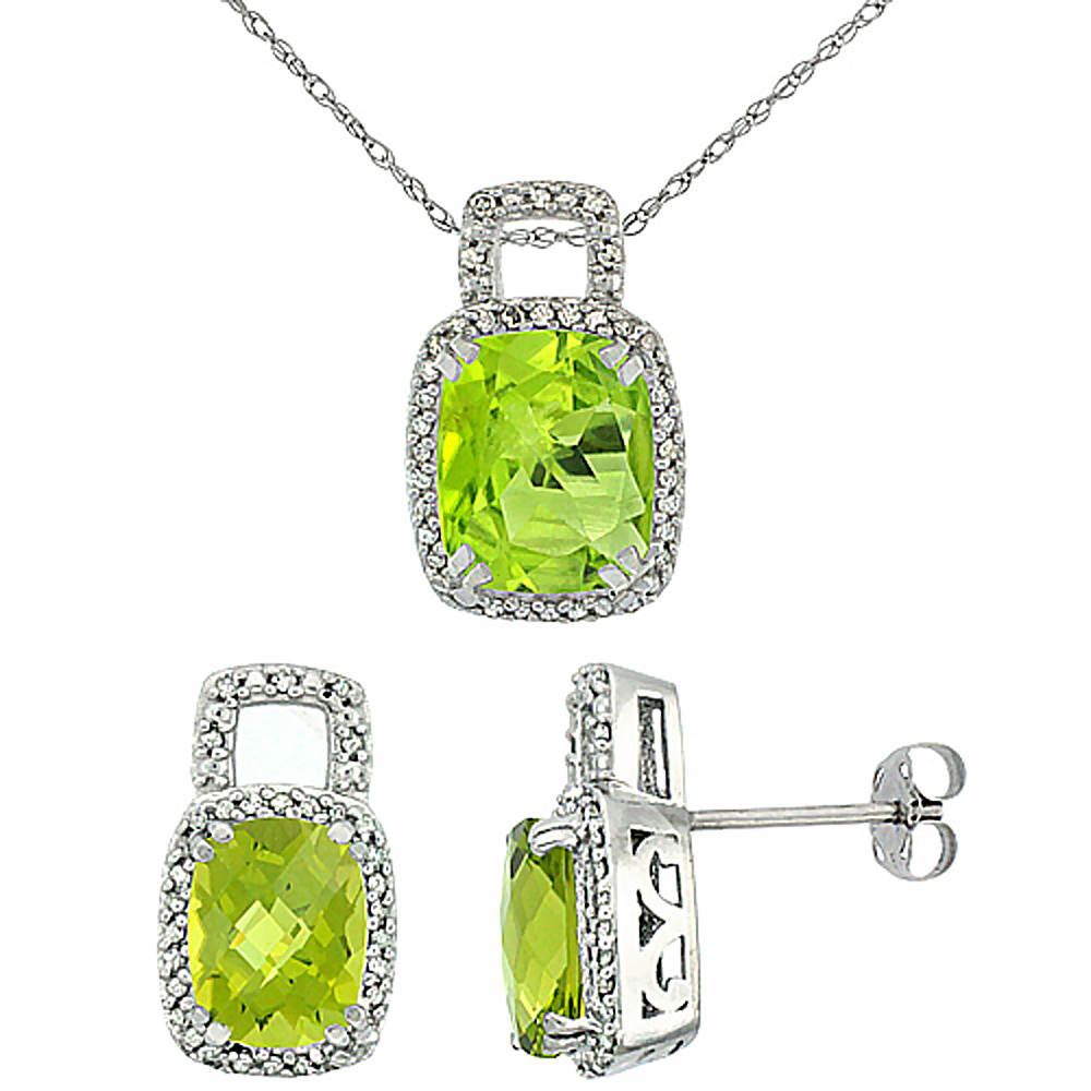 10K White Gold Natural Octagon Cushion Peridot Earrings & Pendant Set Diamond Accents