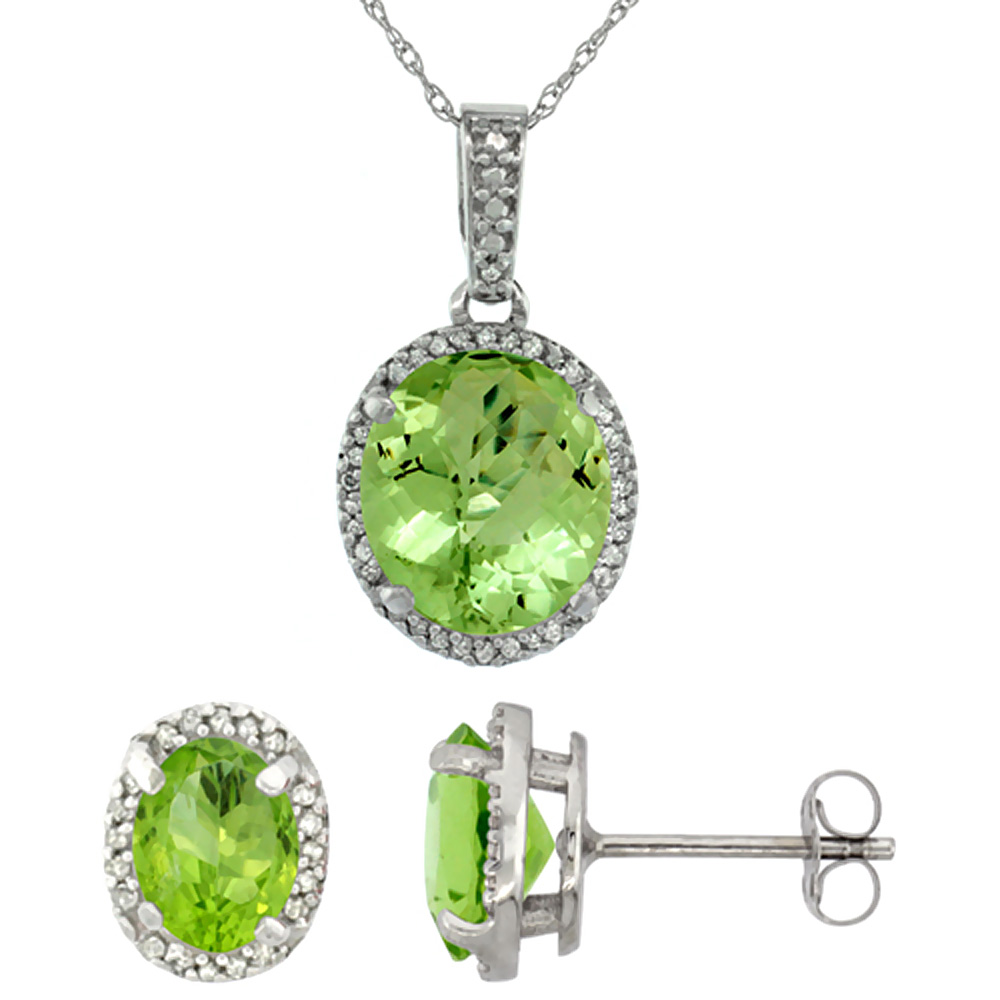 10K White Gold Diamond Natural Peridot Oval Earrings & Pendant Set