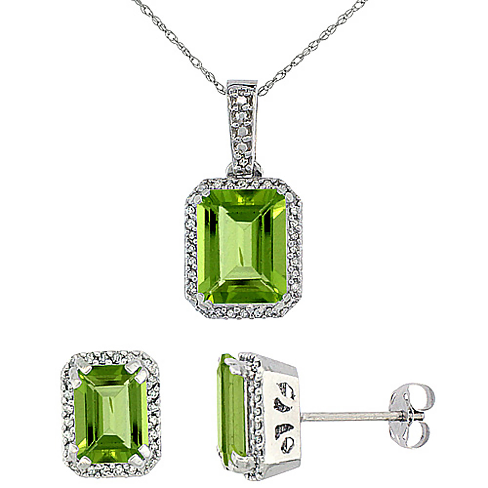 10K White Gold Diamond Natural Octagon Peridot Earrings & Pendant Set