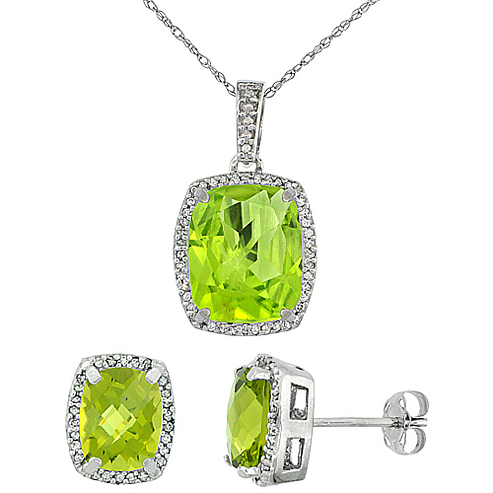 10K White Gold Natural Peridot Octagon Cushion Earrings & Pendant Set