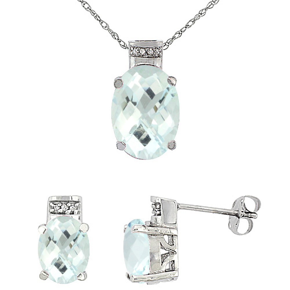 10K White Gold Diamond Natural Oval Aquamarine Earrings & Pendant Set