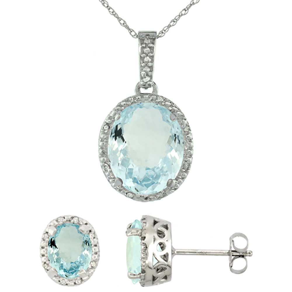 10K White Gold Diamond Halo Natural Aquamarine Earrings Necklace Set Oval 7x5mm & 12x10mm, 18 inch