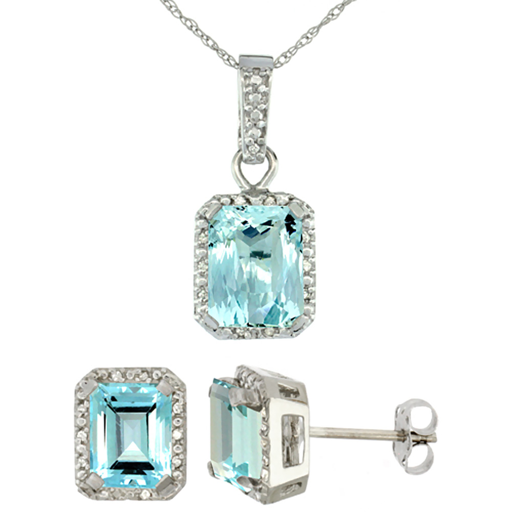 10K White Gold Natural Octagon 8x6 mm Aquamarine Earrings & Pendant Set Diamond Accents