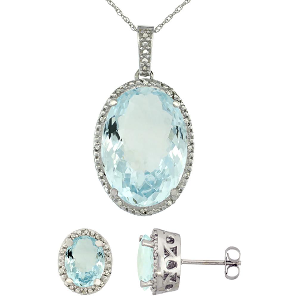 10K White Gold Diamond Natural Oval Aquamarine Earrings & Pendant Set
