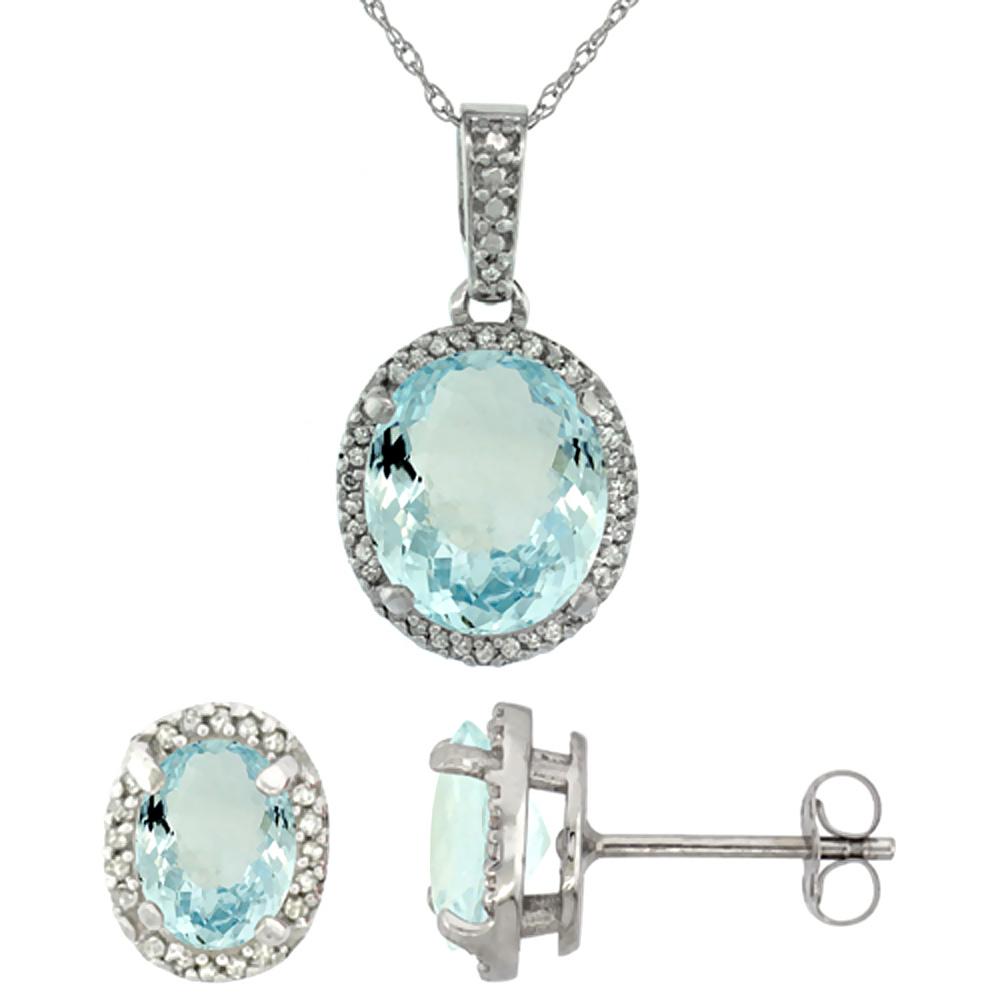 10K White Gold Diamond Natural Aquamarine Oval Earrings & Pendant Set
