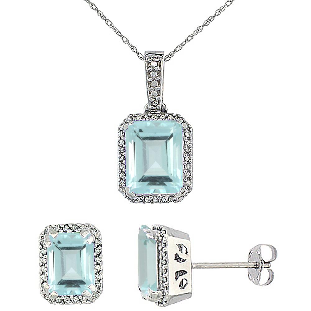 10K White Gold Diamond Natural Octagon Aquamarine Earrings & Pendant Set