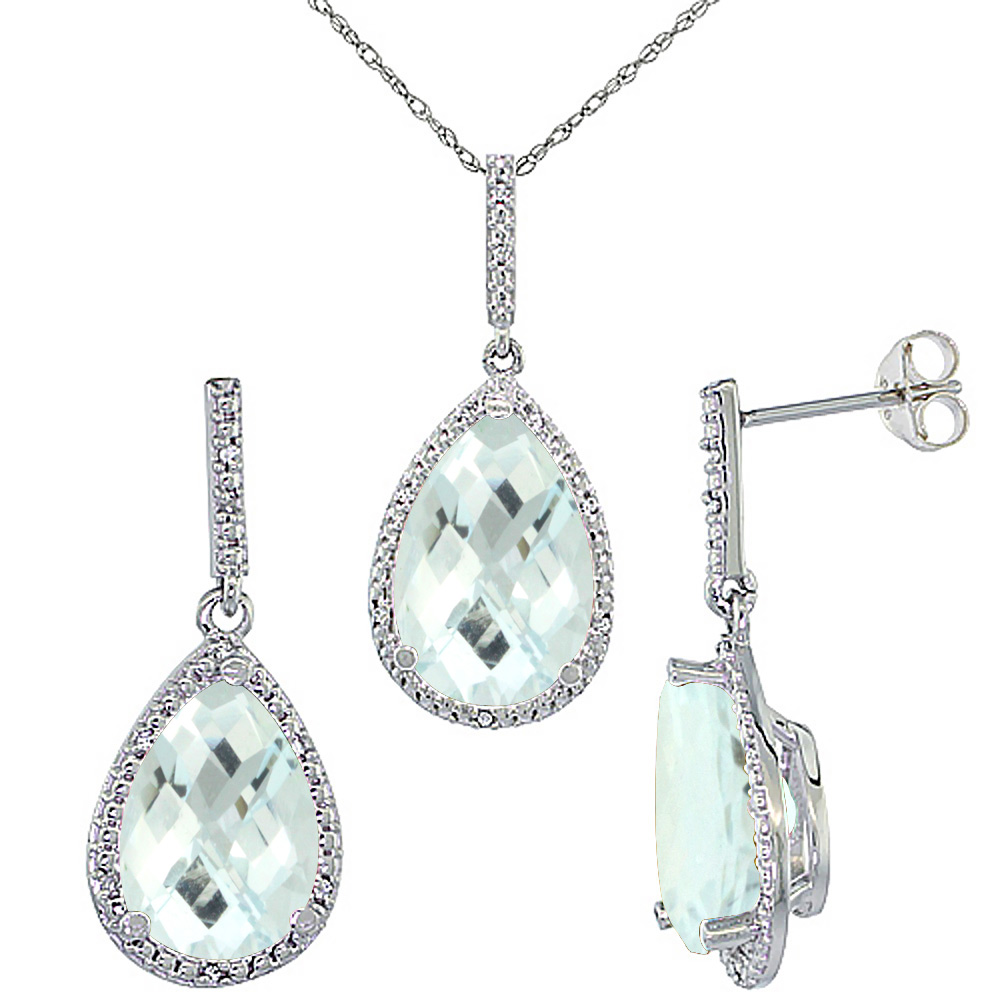 10K White Gold Diamond Natural Aquamarine Earrings Necklace Set Pear Shaped 12x8mm & 15x10mm, 18 inch