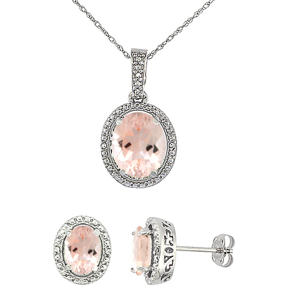 10K White Gold Diamond Natural Morganite Oval Earrings & Pendant Set