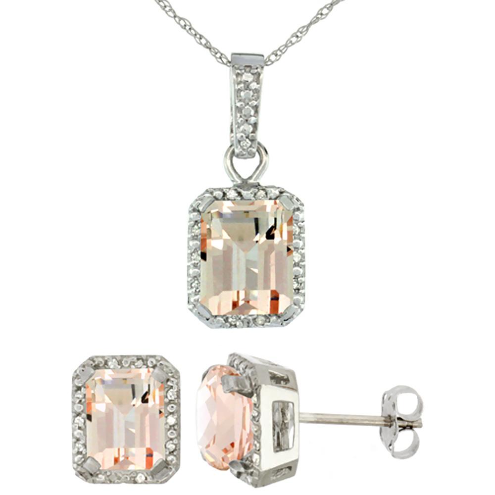 10K White Gold Natural Octagon 8x6 mm Morganite Earrings & Pendant Set Diamond Accents