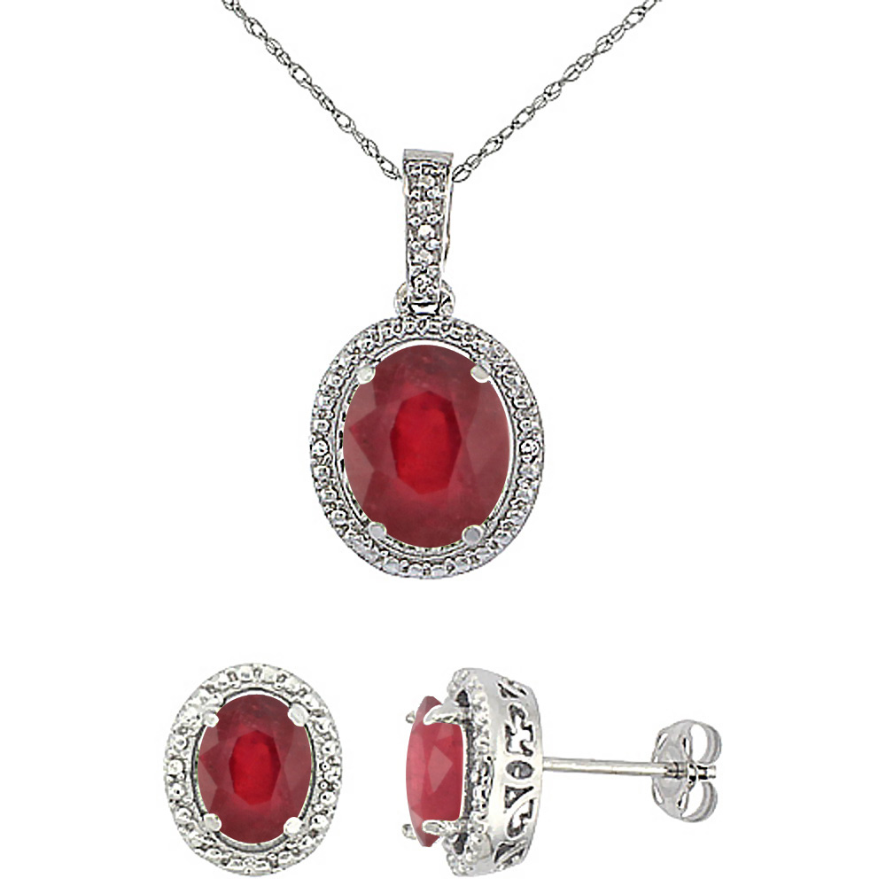 10K White Gold Diamond Enhanced Genuine Ruby Oval Earrings & Pendant Set