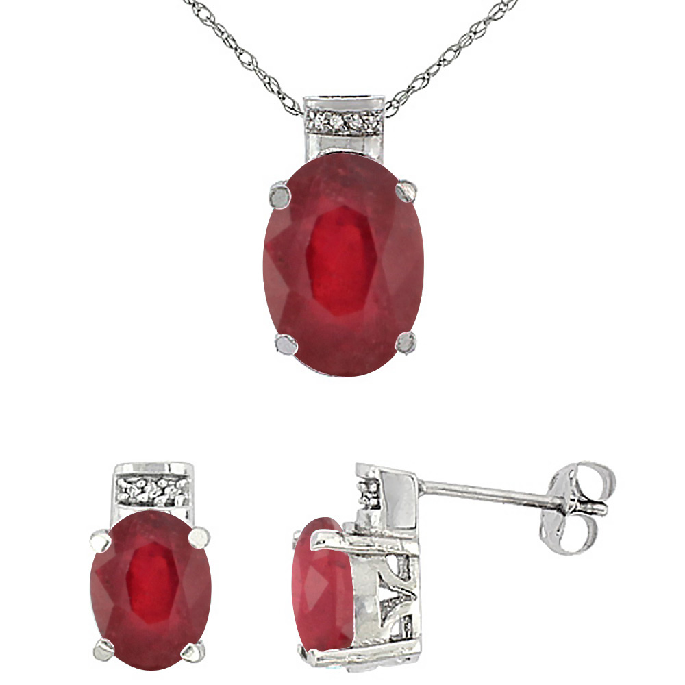 10K White Gold Diamond Natural Oval Enhanced Genuine Ruby Ruby Earrings & Pendant Set