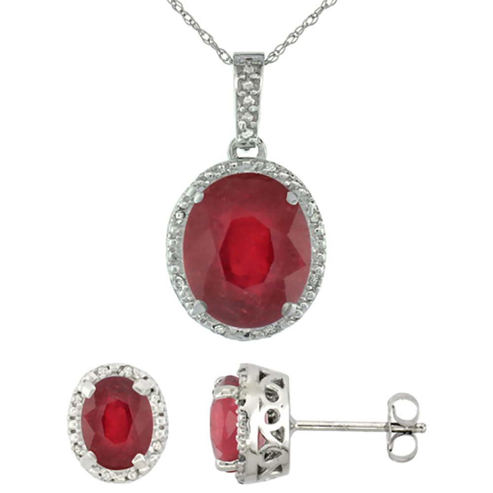 10K White Gold Diamond Halo Enhanced Genuine Ruby Earrings Necklace Set Oval 7x5mm & 12x10mm, 18 inch
