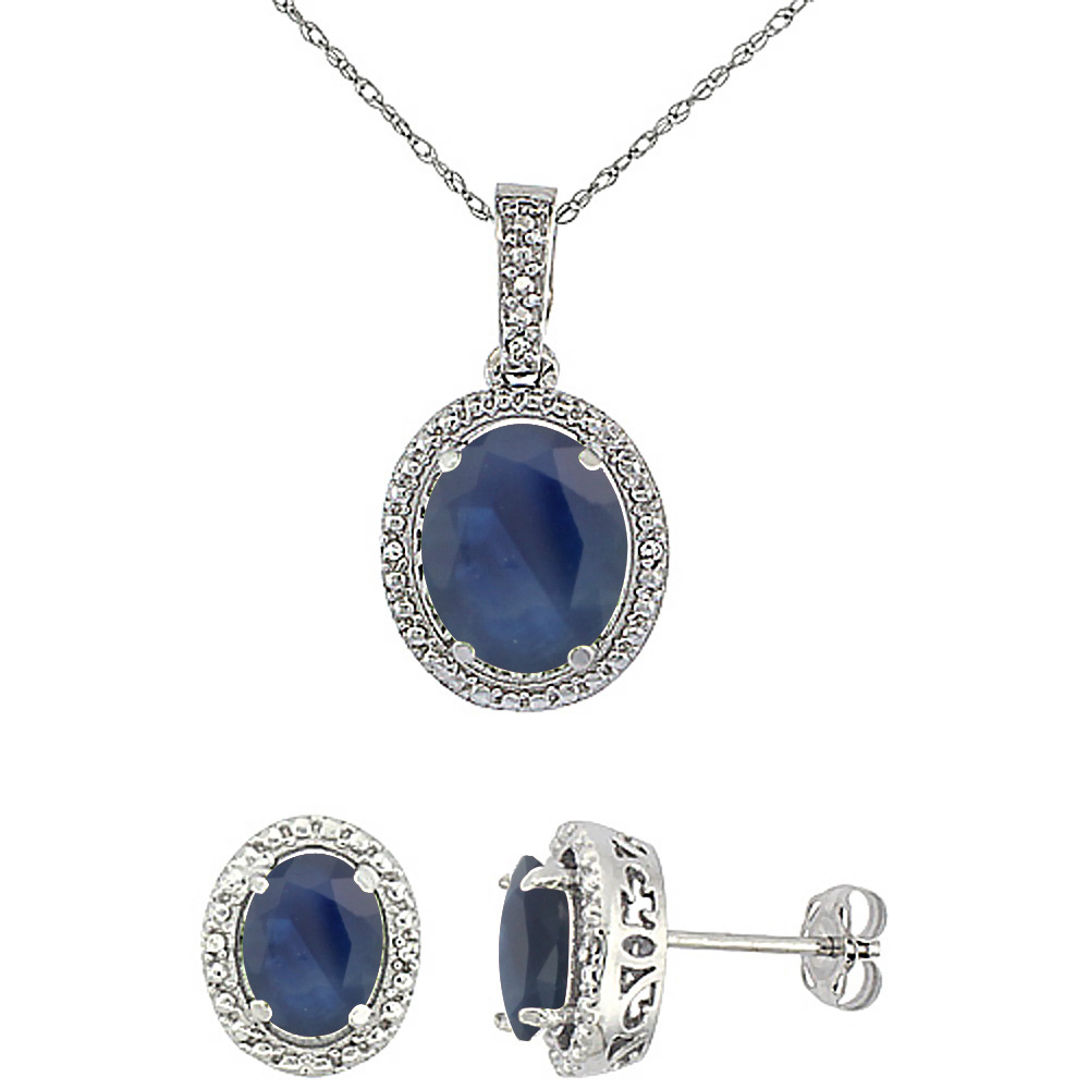 10K White Gold Diamond Natural Blue Sapphire Oval Earrings & Pendant Set