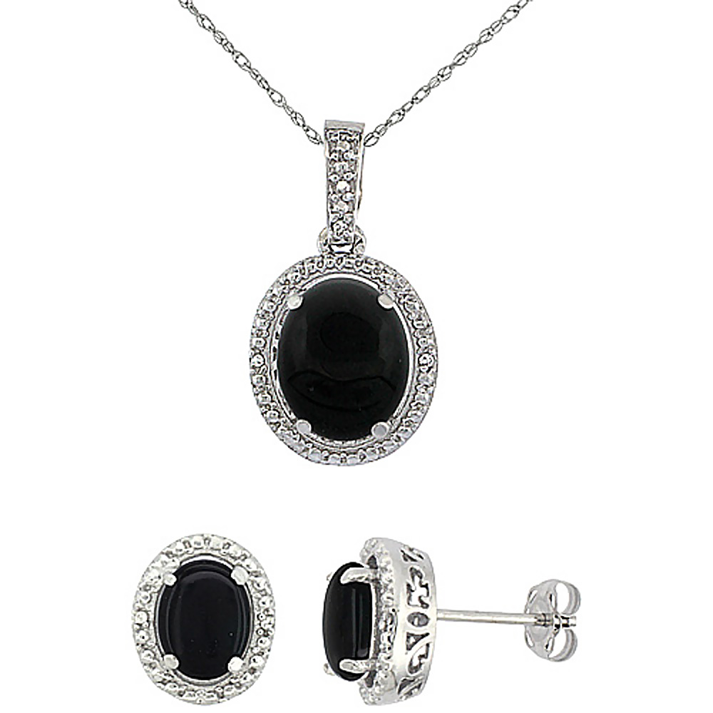 10K White Gold Diamond Natural Black Onyx Oval Earrings & Pendant Set