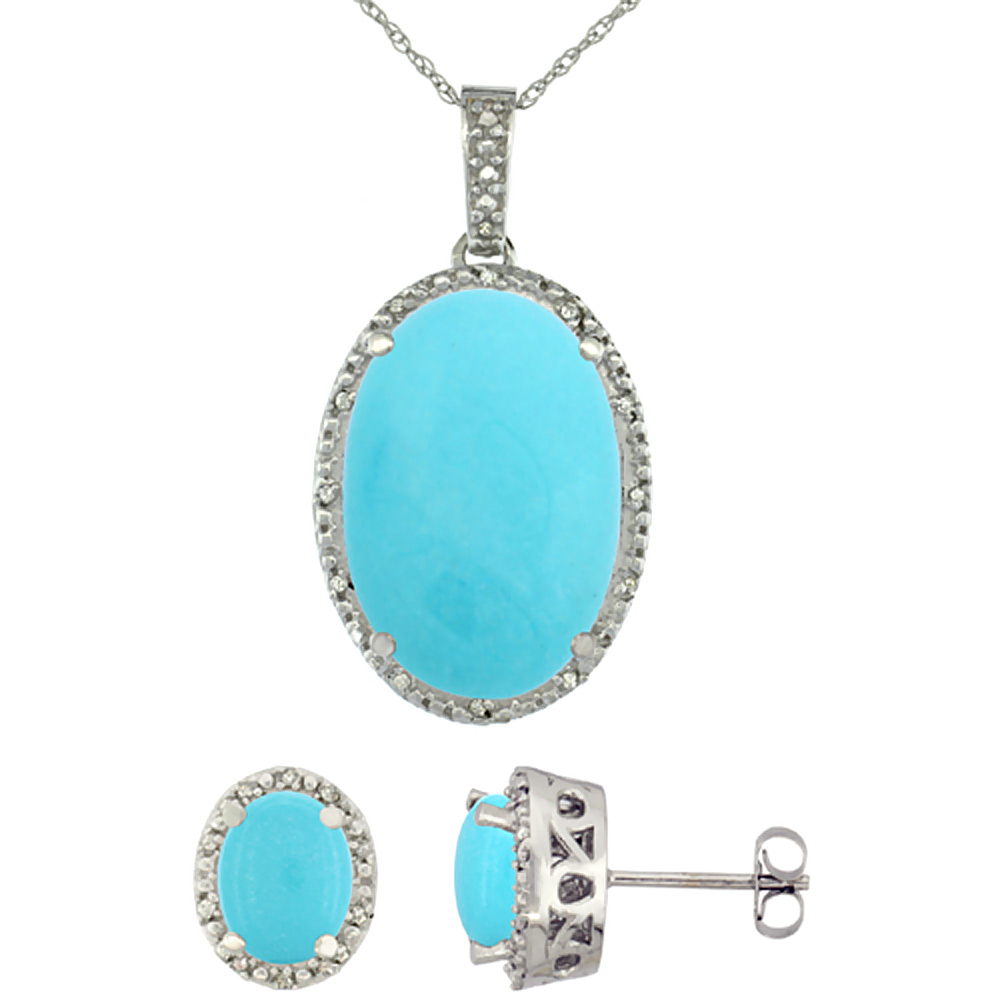 10K White Gold Diamond Natural Oval Turquoise Earrings & Pendant Set