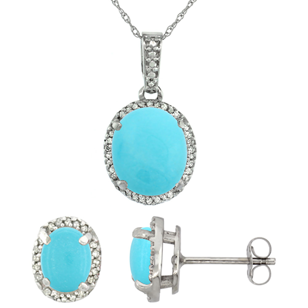 10K White Gold Diamond Natural Turquoise Oval Earrings & Pendant Set