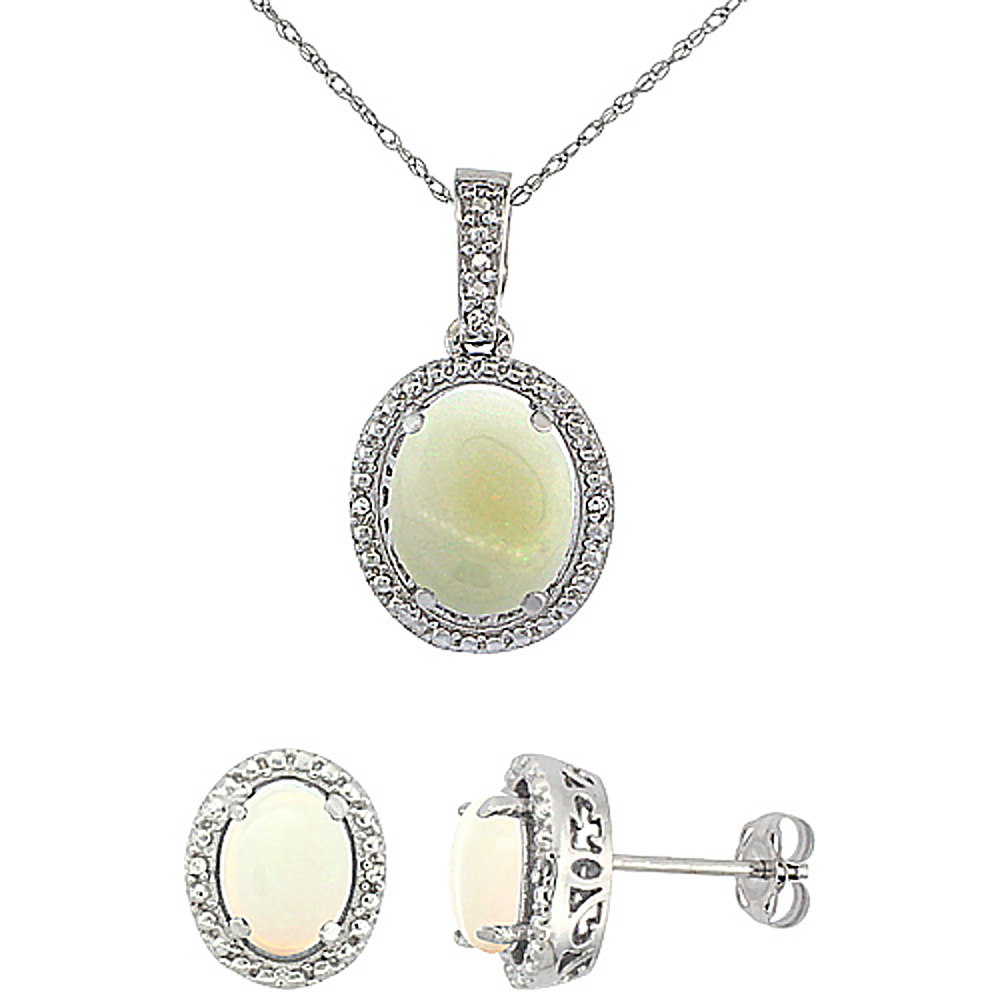 10K White Gold Diamond Natural Opal Oval Earrings & Pendant Set