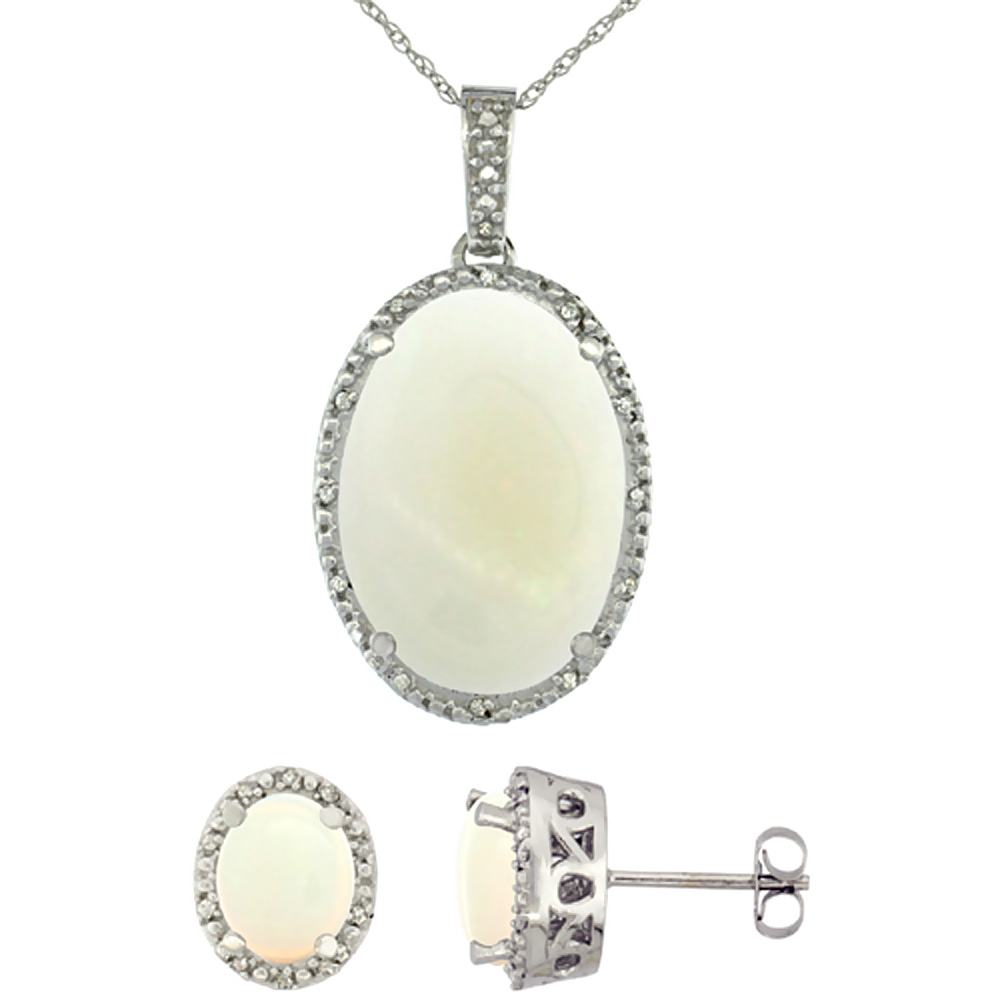 10K White Gold Diamond Natural Oval Opal Earrings & Pendant Set