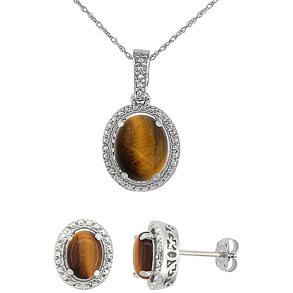 10K White Gold Diamond Natural Tiger Eye Oval Earrings & Pendant Set