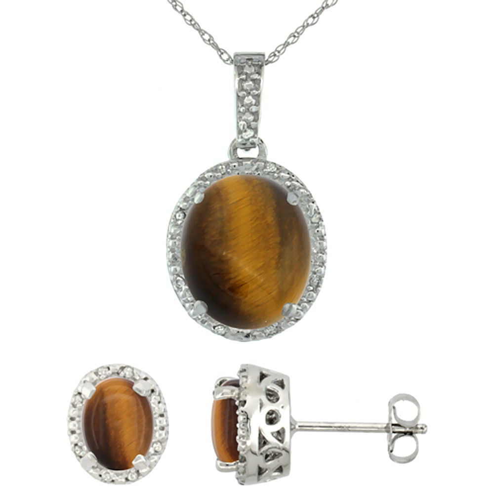 10K White Gold Diamond Halo Natural Tiger Eye Earrings Necklace Set Oval 7x5mm & 12x10mm, 18 inch
