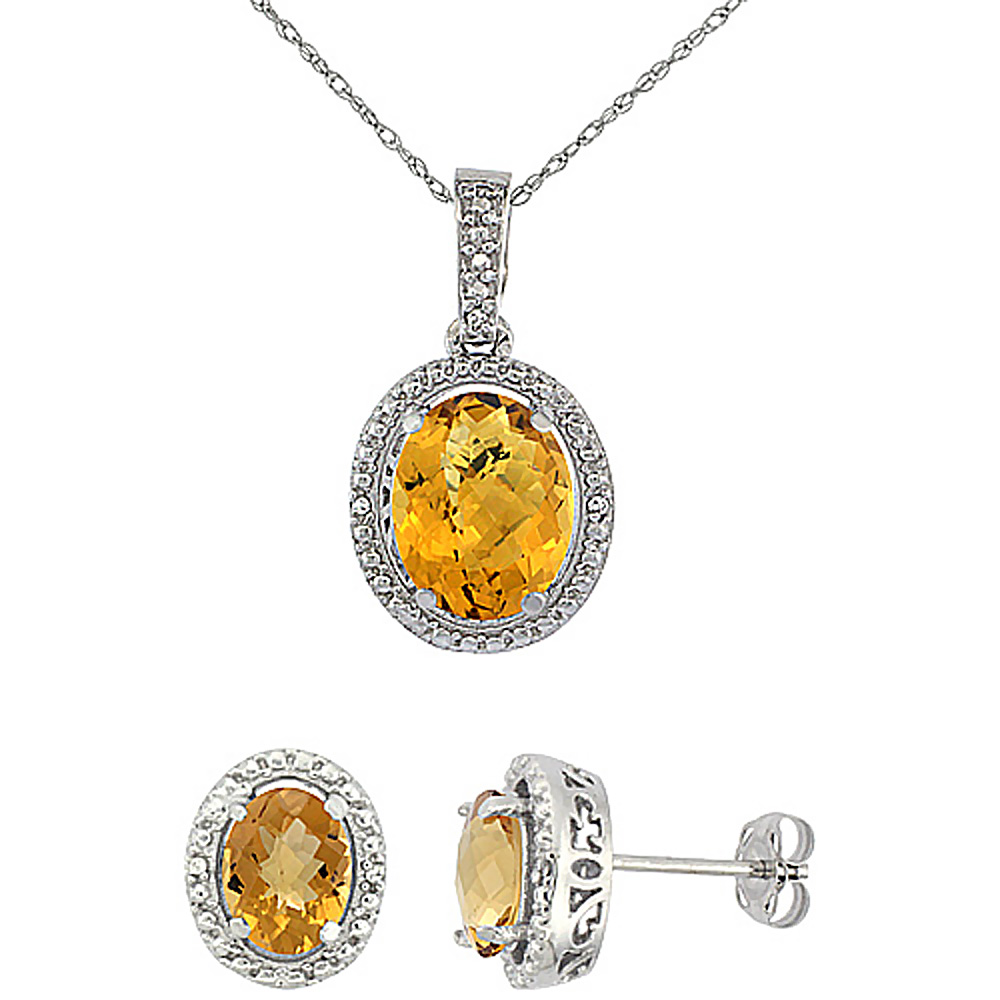 10K White Gold Diamond Natural Whisky Quartz Oval Earrings & Pendant Set