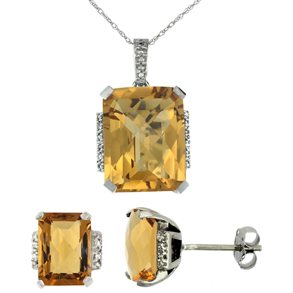 10K White Gold Natural Octagon Whisky Quartz Earrings & Pendant Set Diamond Accents