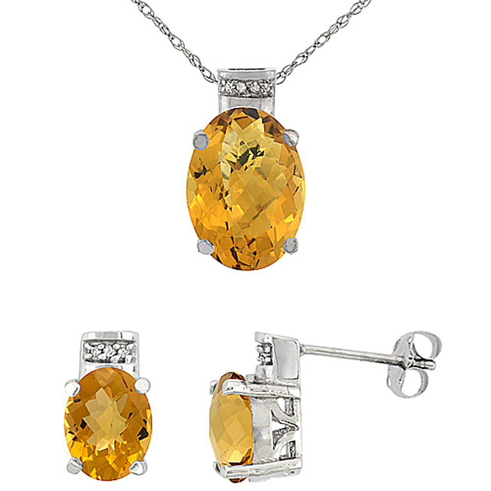 10K White Gold Diamond Natural Oval Whisky Quartz Earrings & Pendant Set