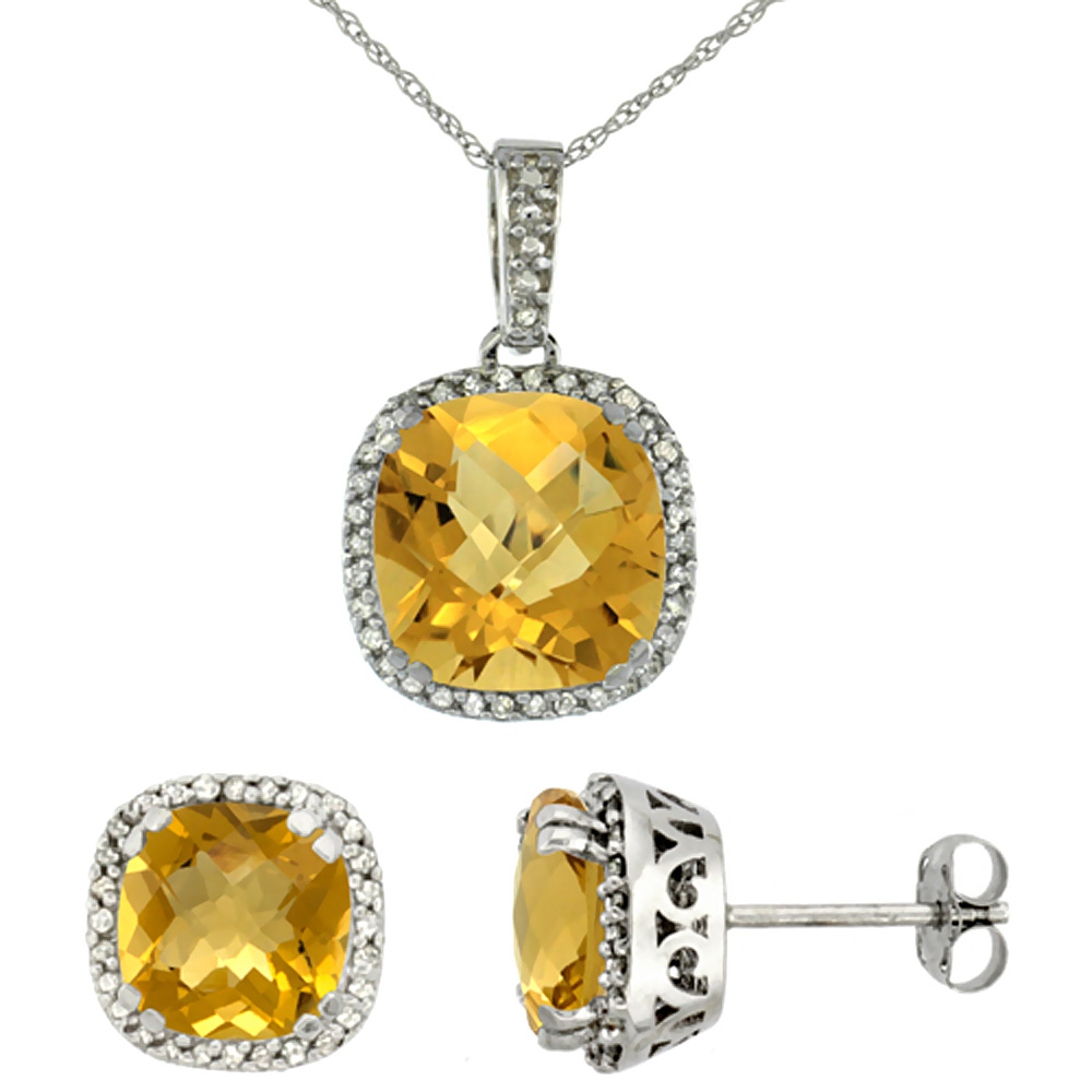 10k White Gold Diamond Halo Natural Whisky Quartz Earring Necklace Set 7x7mm & 10x10mm Cushion, 18 inch